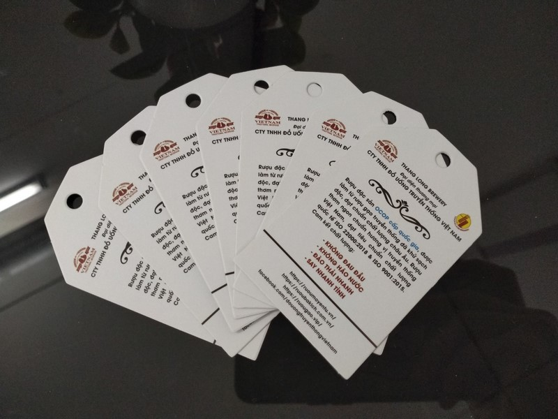 Tag giấy cho sản phẩm rượu truyền thống, đặt in tại ACCA